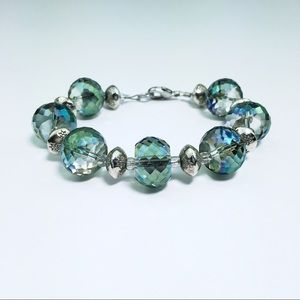 Blue Green Purple Glass Beaded & Silver Bracelet